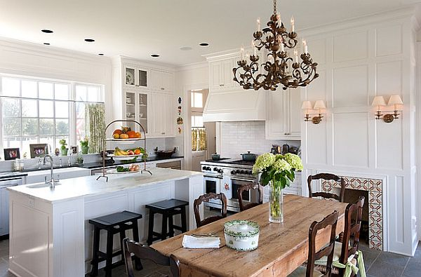 Wonderful White Traditional Kitchen Design From Recycled Beams