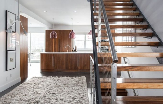 Wood Stair With Steel Banister And Picture Lighting Also Recessed Ceiling Lighting