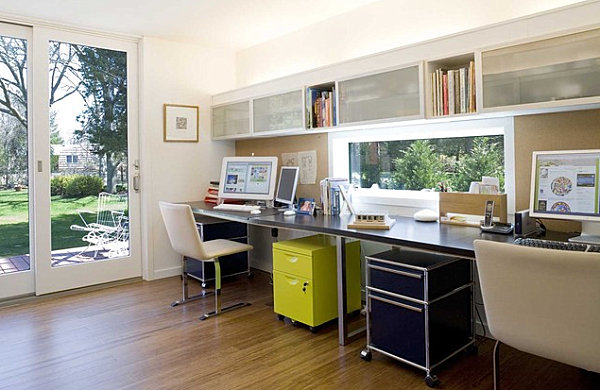 Yellow And Blue Storage In A Home Office For Painted Storage Design
