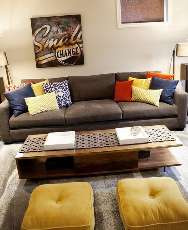 Yellow Puffy Floor Pillows In The TV Room Space