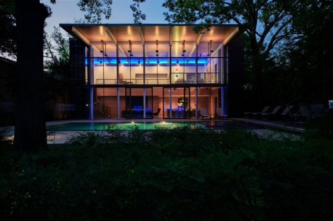 House In The Garden By Cunninghamnight Facade With Warm Lightings