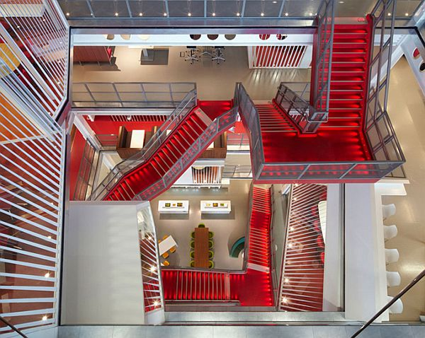 Macquarie Group Offices London Interior With Red Stairs For Modern Office Design