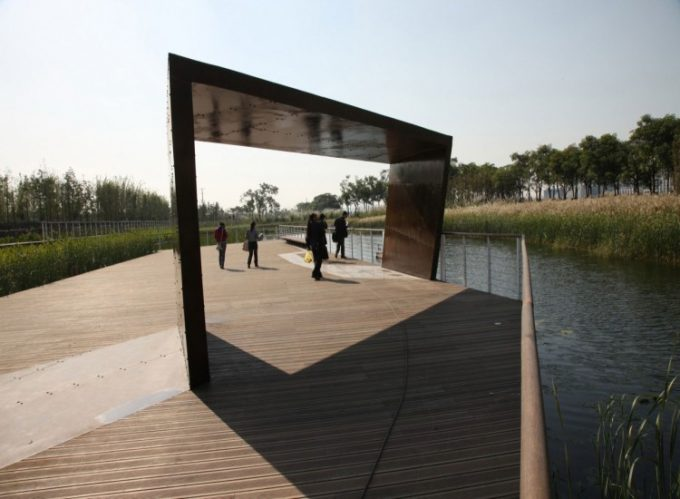 Amazing Park Design With River Plants And Walkway With Custom Pergola