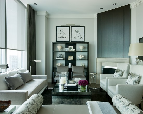 Apartment Design With Small Family Room Furniture Arrangement In Grey Theme Using Modern Sofa