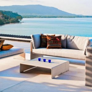 Awesome Outdoor Patio With Cozy Sofa And Stunning Phuket Beach