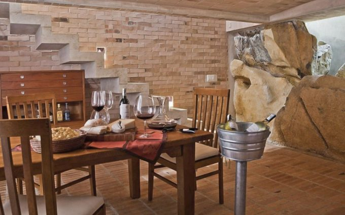 Beautiful Basement Dining Room With Natural Accent And Big Stone And Brick For Interior Decor