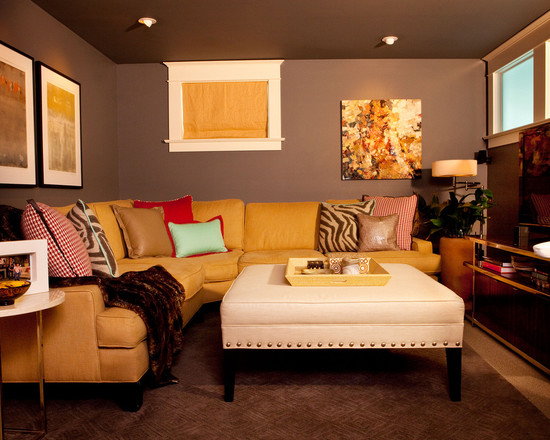 Beautiful Basement With Family Room Furniture Arrangement Using Yellow Sectional Sofa White Ottoman And Brown Wall Decor