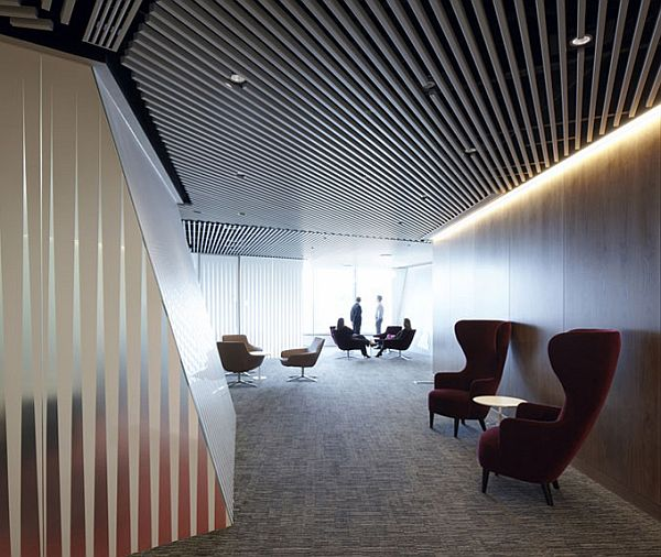 Beautiful Ceiling Slat Style And Neon Lighting For Modern Office Design