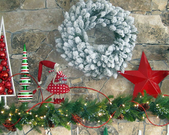 Beautiful Pictures Of Mantels Decorated For Christmas With Green Cedar And Wreath Also Red Star