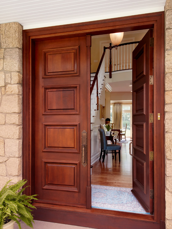 Beautifyl Entry With Double Wood Front Doors For Homes With Swing Door Design And Rug Carpet