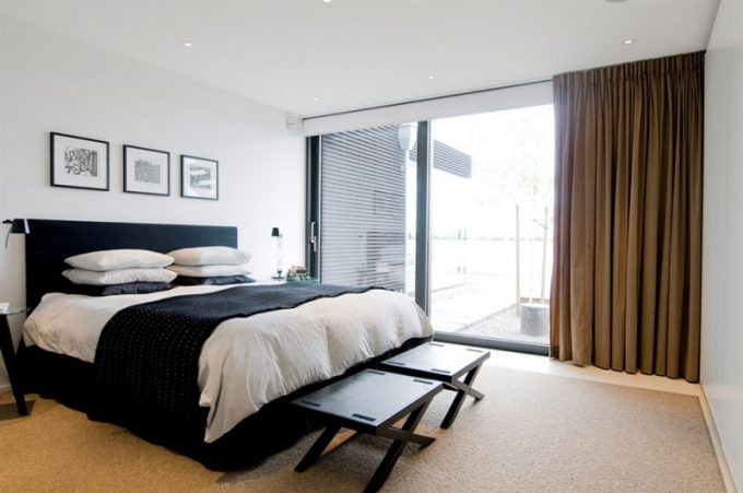 Black Bed Platform And White Bedding In Minimalist Design For Villa Bedroom Ideas