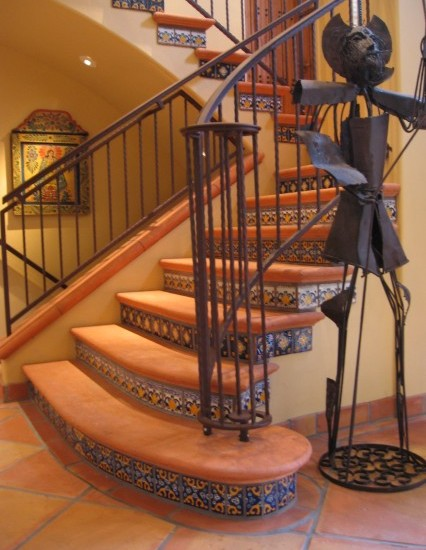 Classic Staircase With Talavera Floor Tiles Stairs And Wrought Banister Also Stair Raiser