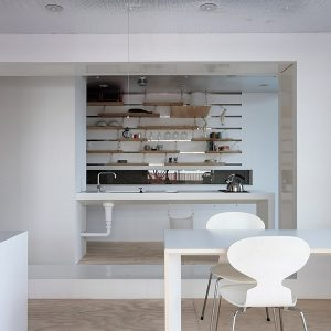 Compact Kitchen Countertops With Wall Shelving