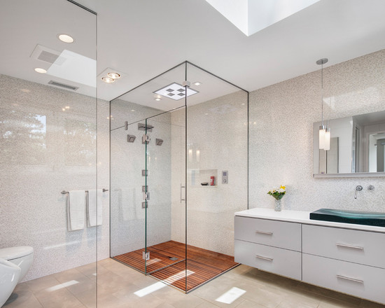 Contemporary Bathroom With Glass Shower And Pallet Wood Floor Shower Also Recessed Lighting Decor