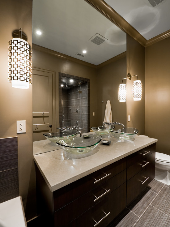 Contemporary Bathroom With Golden Wall And Brown Vanity Also Beige Tile Floor For Inexpensive Bathroom Remodeling Ideas