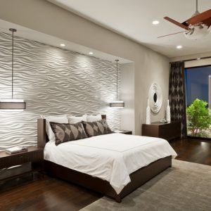 Contemporary Bedroom Design With Textures Walls And Grey Carpet Also Ceiling Fan Plus Recessed Ceiling Lighting