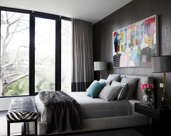 Contemporary Bedroom With Zebra Print Bed Bench And Brown Texture Walls Also Modern Floor To Ceiling Windows