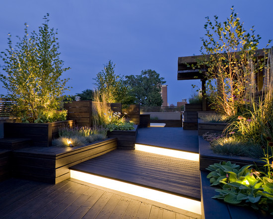 Contemporary Deck With Pallet Wood Floor And Linear Lighting Also Built In Bench Plus Pergola In Roof Garden Design