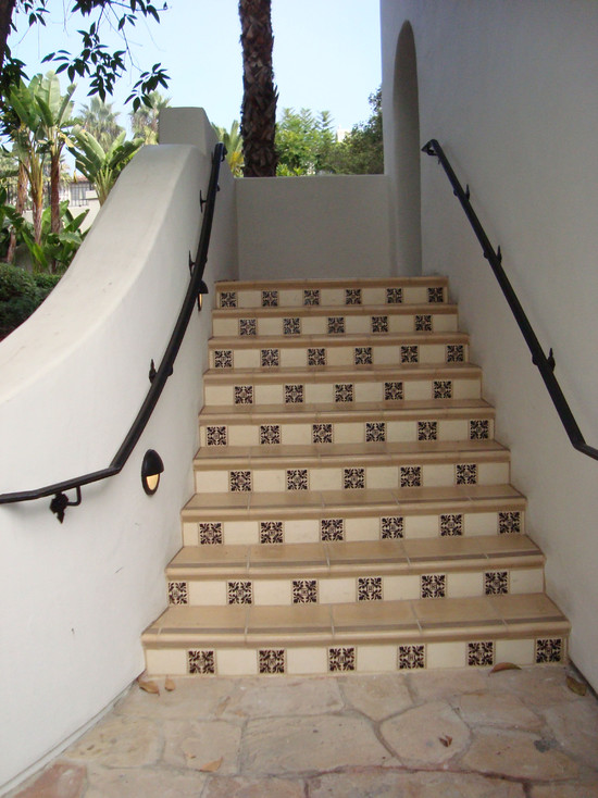 Contemporary Exterior Staircase With Spanish Floor Tiles Stairs And Iron Handrail Also Stucco Wall