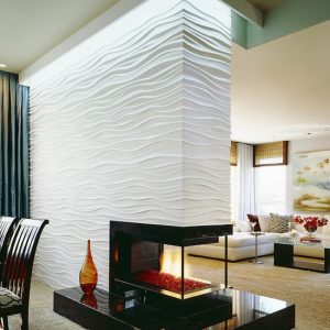 Contemporary Living Room Using Different Textures For Walls And Thee Way Fireplace Also Room Devider With Neon Lighting