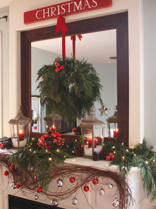 Contemporary Living With Cedar Wreath For Pictures Of Mantels Decorated For Christmas