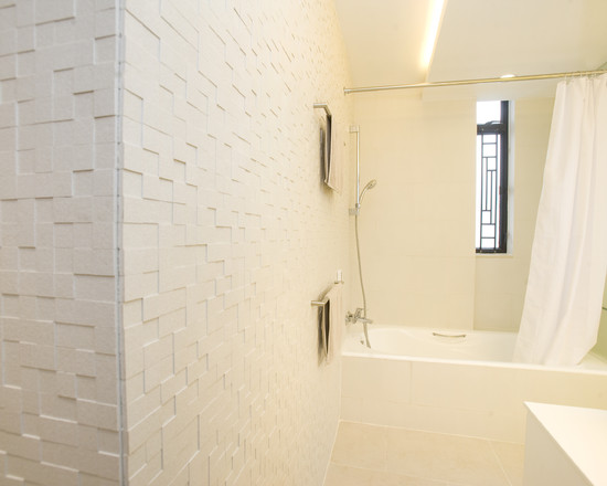 Cool Contemporary Bathroom With Cove Lighting And Textured Wall Also Bathtub With Showers