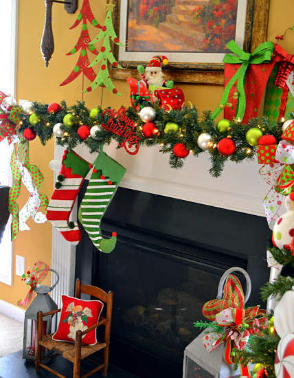 Cool Pictures Of Mantels Decorated For Christmas Using Garland And Colorful Christmas Decor
