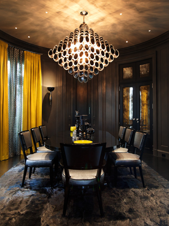 Dark Dining Room Decor Using Dark Furry Area Rugs Dark Wall And Unique Dark Chandelier