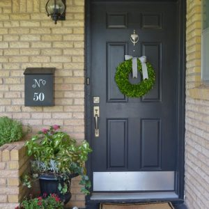 Eclectic Entry With Black Swing Door With Rustic Knob Also Contemporary Door Wreaths