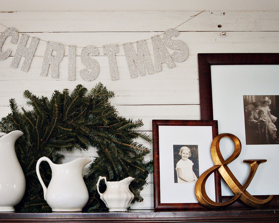 Eclectic Family Room With Simple Cedar Mantle Christmas Decor For Pictures Of Mantels Decorated For Christmas