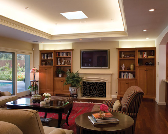 Elegant Family Room Using Recessed Ceiling Designs Fill With Cozy Sofa And Chair And Carpet Floor And Wood Flooring Also White Neon Lighting