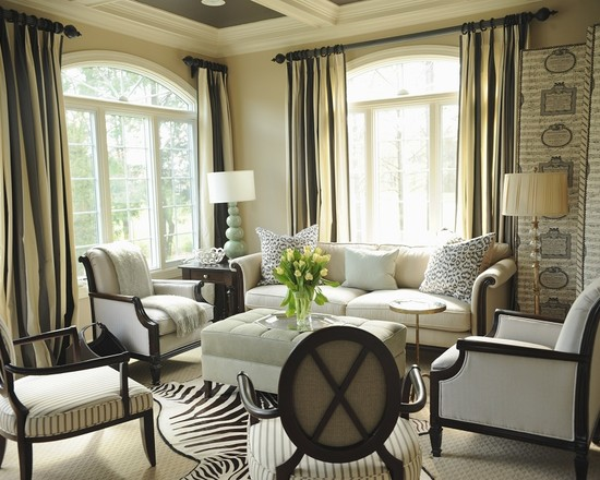 Family Room Furniture Arrangement In Rustic Design And Pale Color Decor Using Retro Sofa And Chairs
