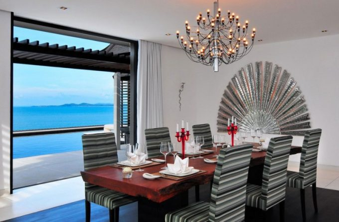 Great Dining Furniture Design With Beautiful Chair Pattern And Chandelier