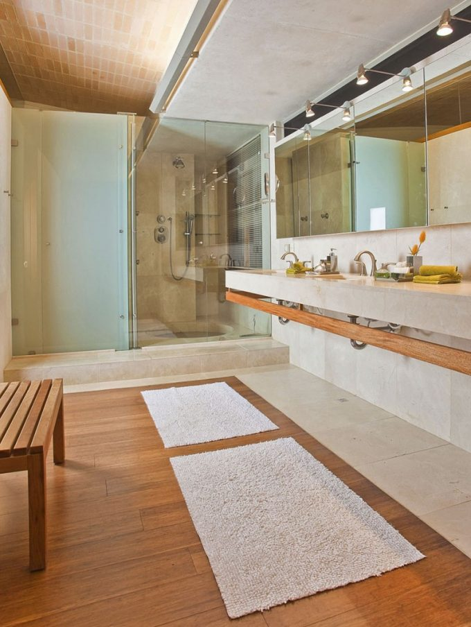 Large Bathroom Design With Wooden Floor And Hang Sink Decor