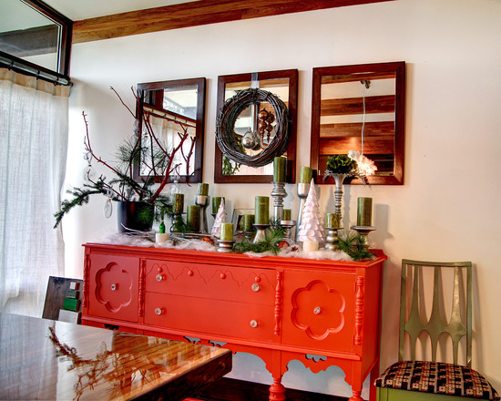 Midcentury Dining Room With Orange Buffet Table Decorating Ideas And Three Mirrors With Whreath