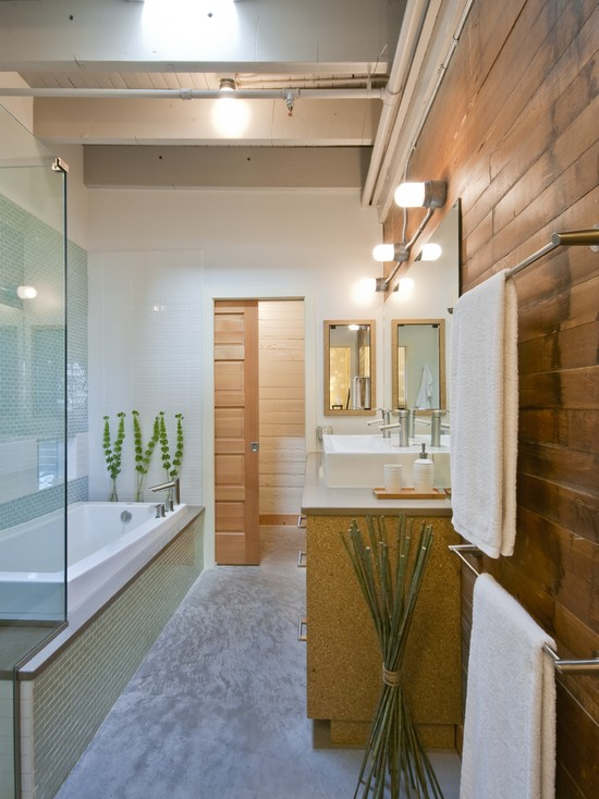 Modern Bathroom Using Wooden Pocket Doors And Wood Plank Wall Also Glass Shower