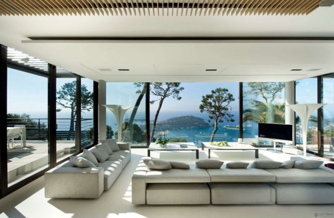 Modern Living Room Design With Full Glass Wall And Drop Ceiling
