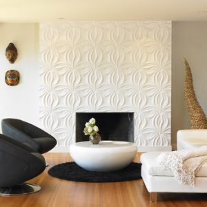 Modern Living With Different Textures For Walls And Modern Fireplace White Sofa Also Wood Flooring