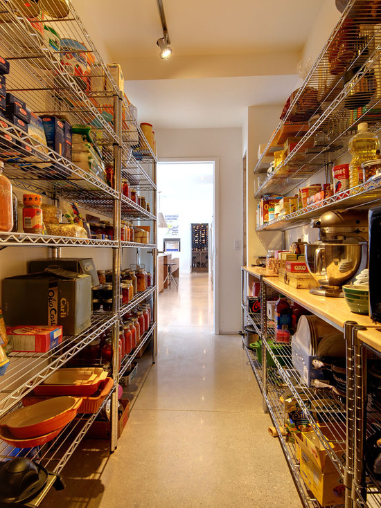 Pantry Shelving Designs Using Steel And Wood Materials Also Beige Floor