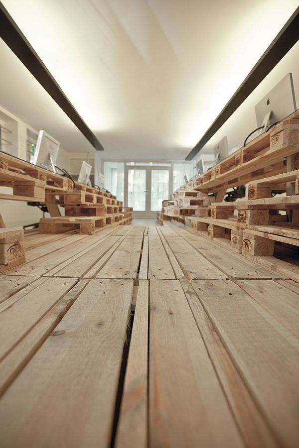 Recycled Pallet Office Flooring Green Office Ideas