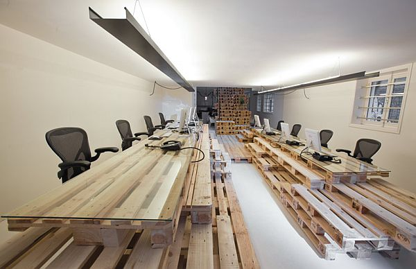 Recycled Pallet Office Interior Inline Work Space Design