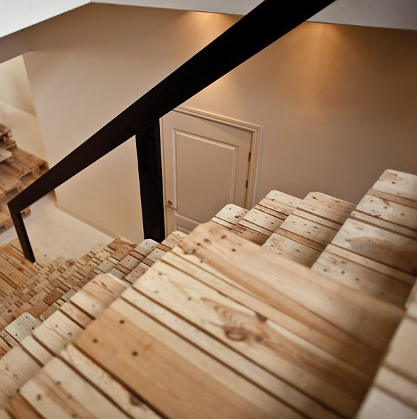 Recycled Pallet Staircase Details With Black Steel Handrail