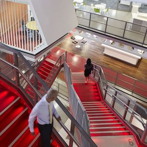 Red Stairs With Lighting For Modern Office Design