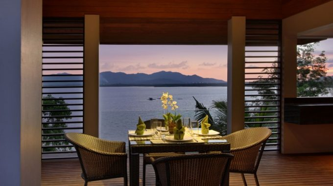 Romantic Dining Room With Wicker Chair And Relaxing Phuket Sea View