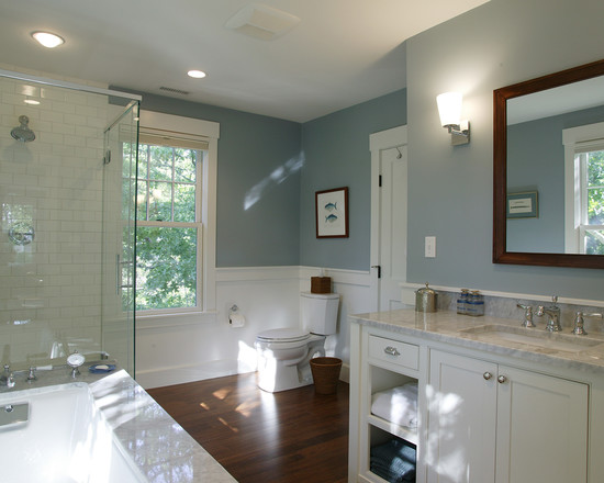 Rustic Bathroom Design With Wood Floor0white Tub And Simple Wood Vanity For Inexpensive Bathroom Remodeling Ideas