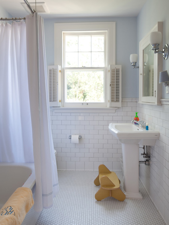Rustic Bathroom Using Penny Vintage Bathroom Tile Patterns Sink And White Curtain