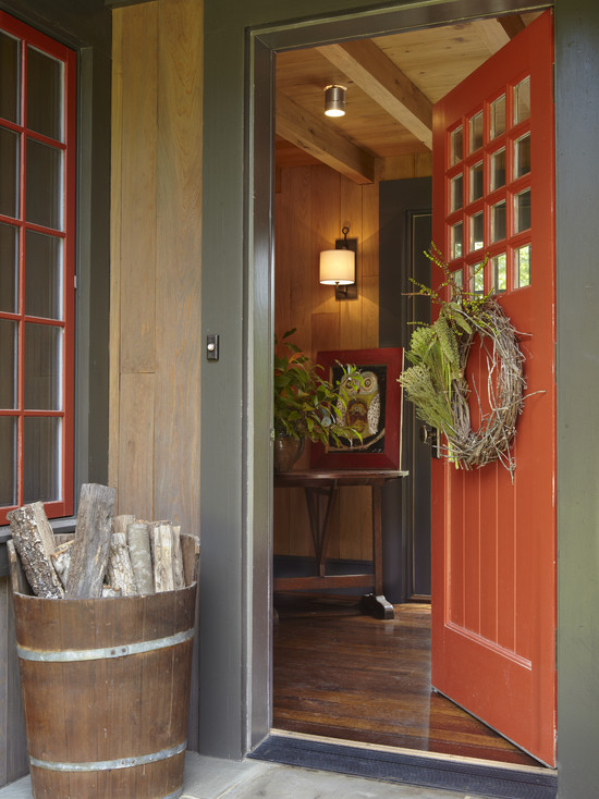 Rustic Entry With Rustic Red Door And Contemporary Door Wreaths Also Red Front Door Also Wood Storage For Fireplace
