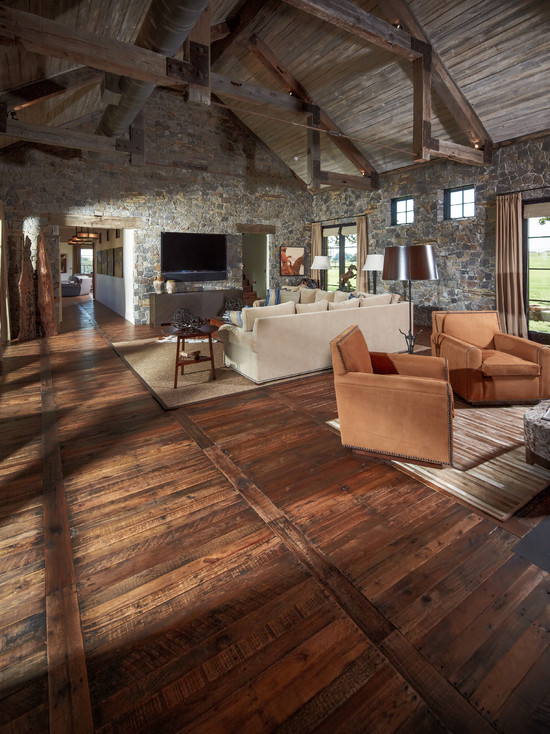 Flooring Rustic Family Room With Pallet Wood Floor And Wood Beams