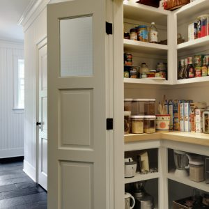 Small Panty Design With Pantry Shelving Designs And Wood Painted Swing Door