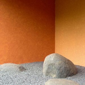 Stone For Landscape Decor And Orange Exterior Wall